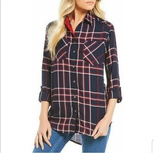 Westbound Plaid Button Up Top